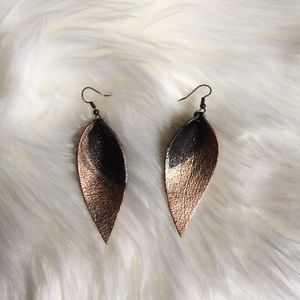 Leather leaf earrings! One of a kind!